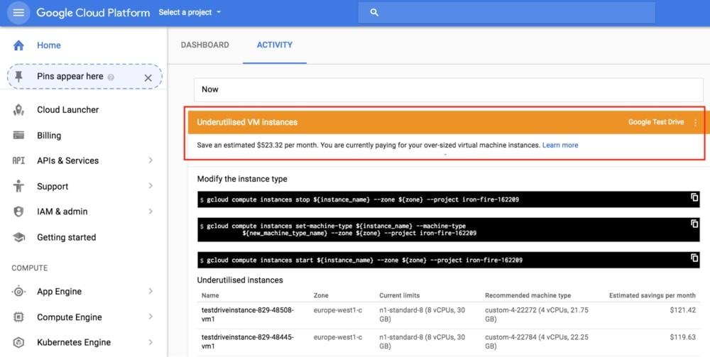 painel google cloud